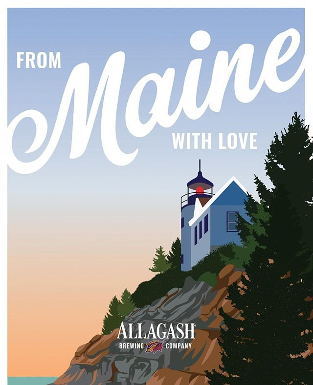 Sending Maine love South for the Charleston Wine + Food Show! Custom illustration for the @allagashbrewing and @eventideoysterco tasting booth at @chswineandfood⁣ .⁣ #brandsmithery #wineandfood #design #charleston