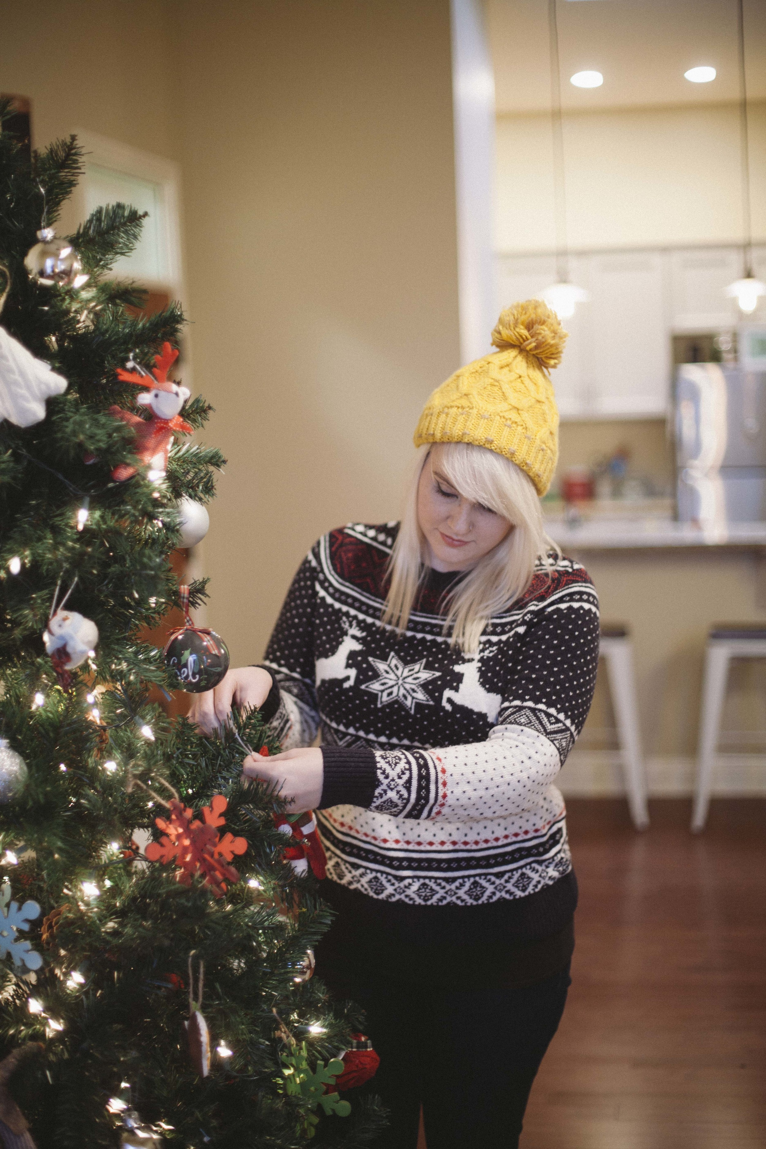 Christmas sweater: H&M, Hat: Target
