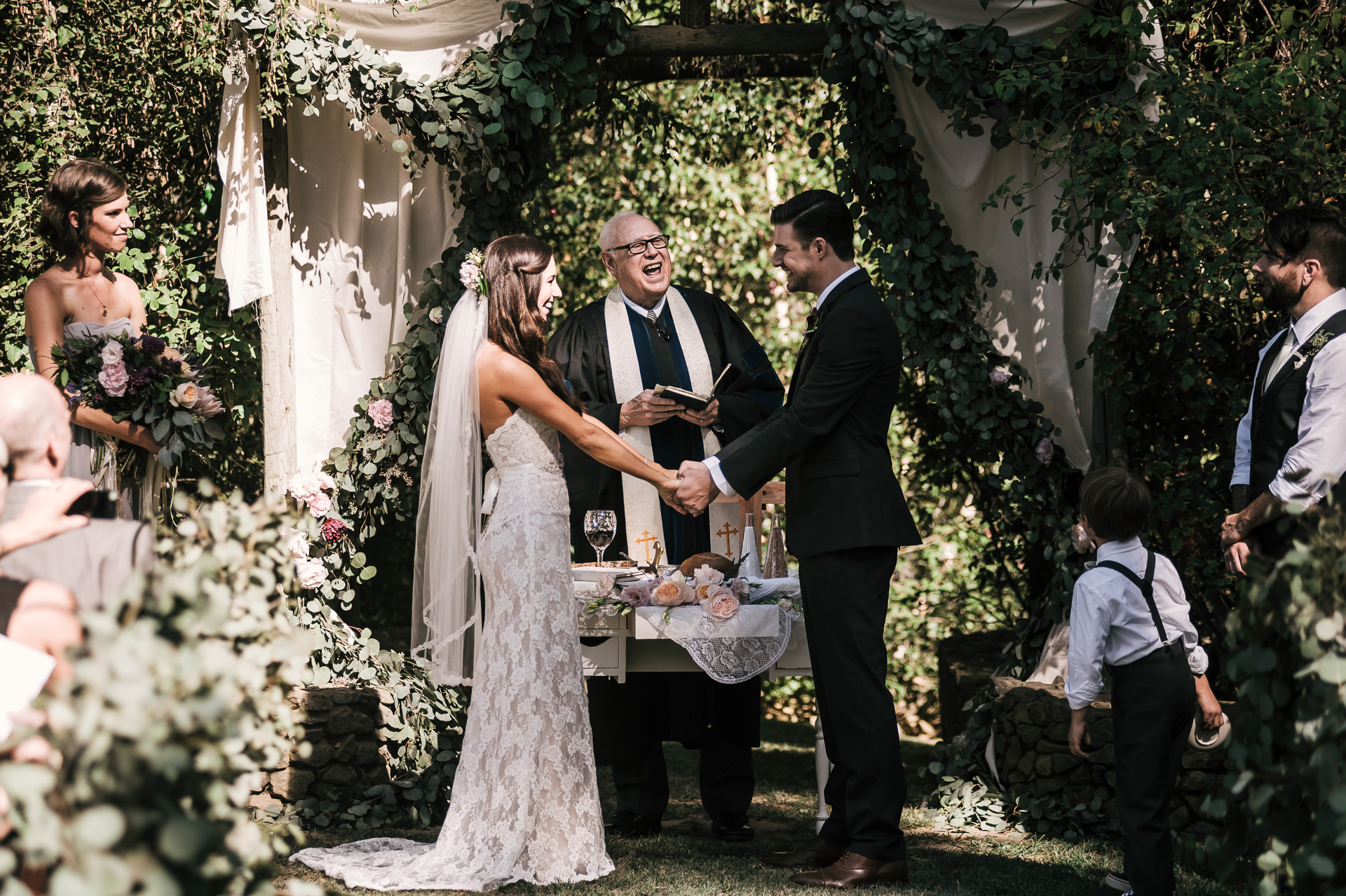 Beautiful marriage ceremony at the Quail Haven Farm in Vista, California.