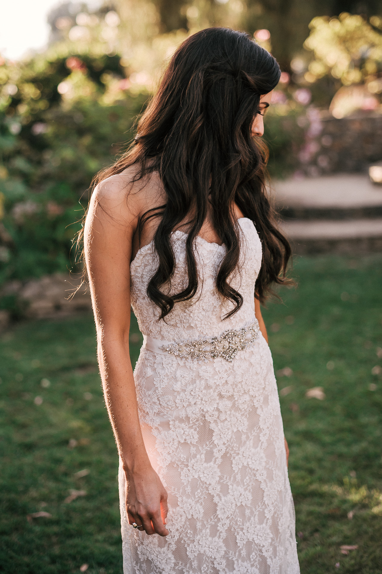 Beautiful bridal portrait during sunset in the gardens of Quail Haven Farm.