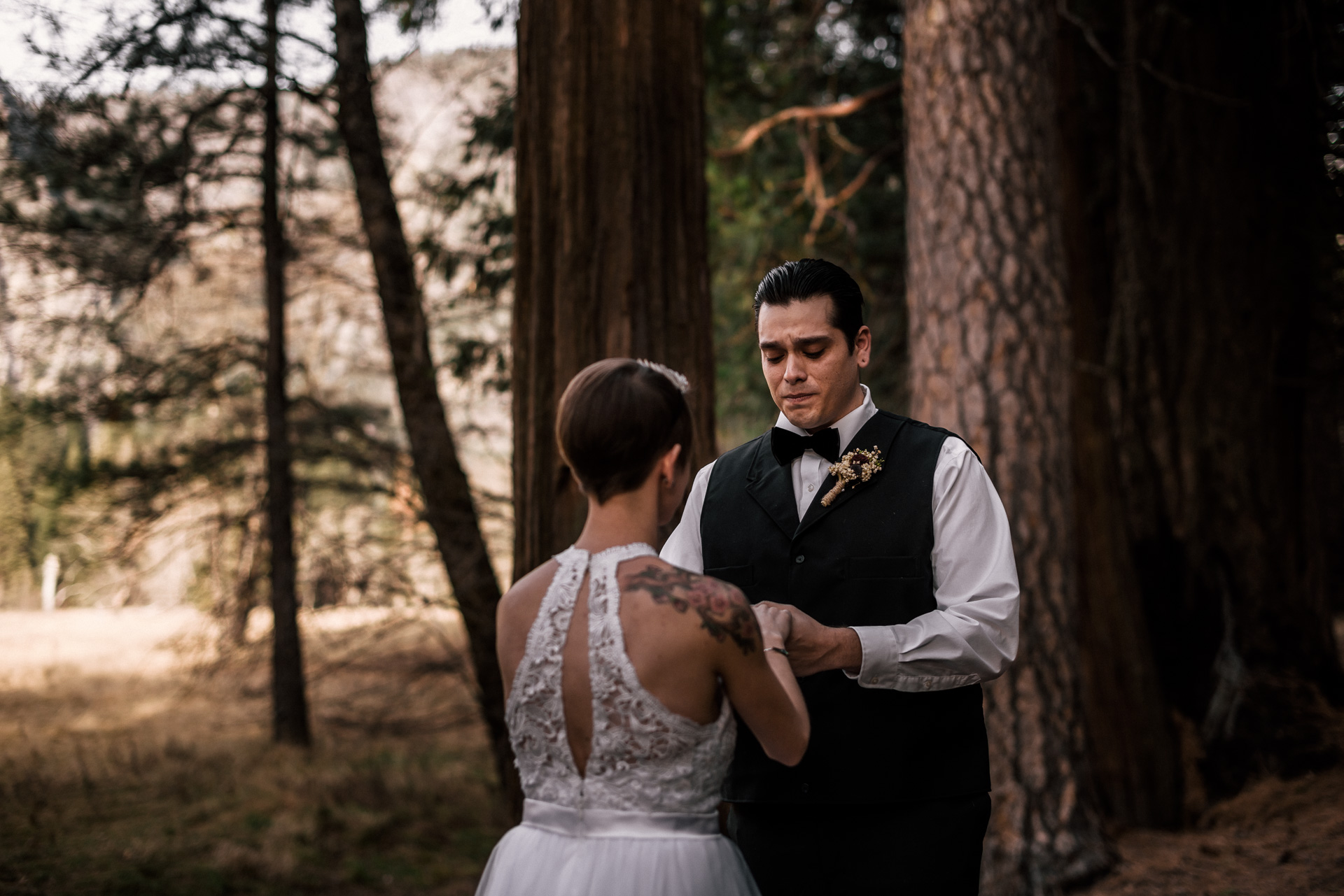 Yosemite elopement photographer captures groom's tears as he states his vow