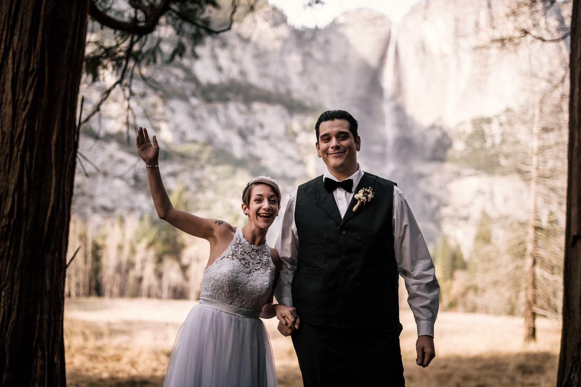 Newly wedded couple celebrates in yosemite national park after their elopement at swinging bridge