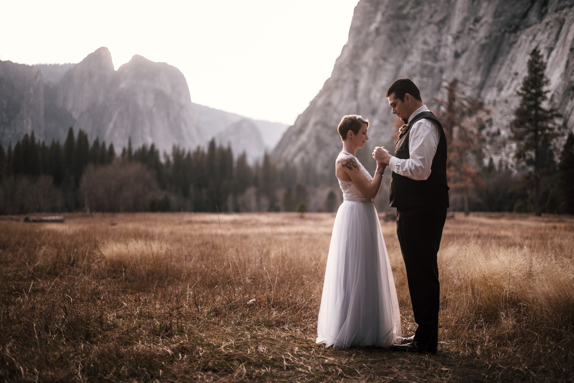 after their Yosemite elopement couple holds hands in a meadow lit by sunset