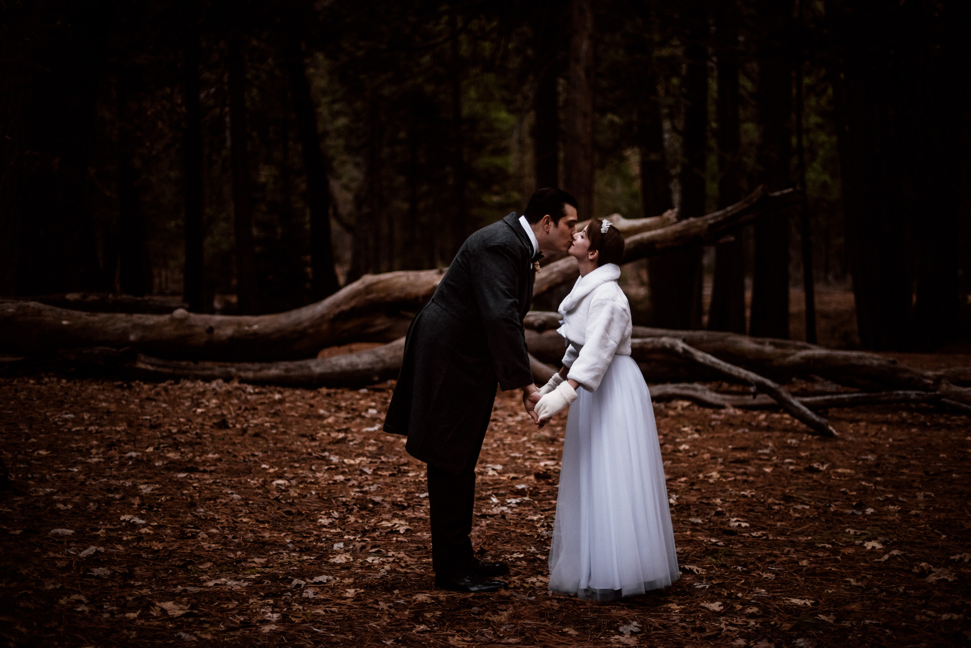 bride and groom kiss in winter for their Yosemite elopement at swinging bridge