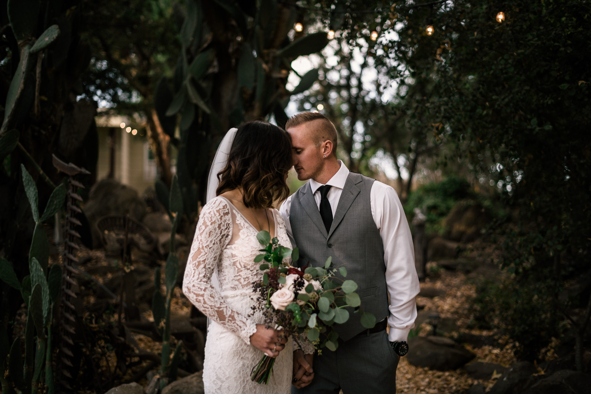 Romantic bride and groom portrait at the rustic Pymm ranch wedding venue in Winchester California