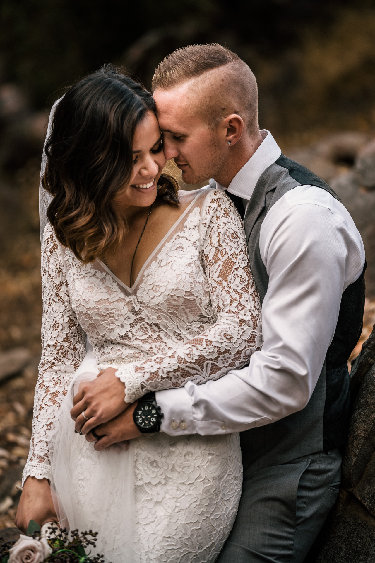 Bride and groom intimate wedding photography at rustic pymm ranch wedding venue in winchester california