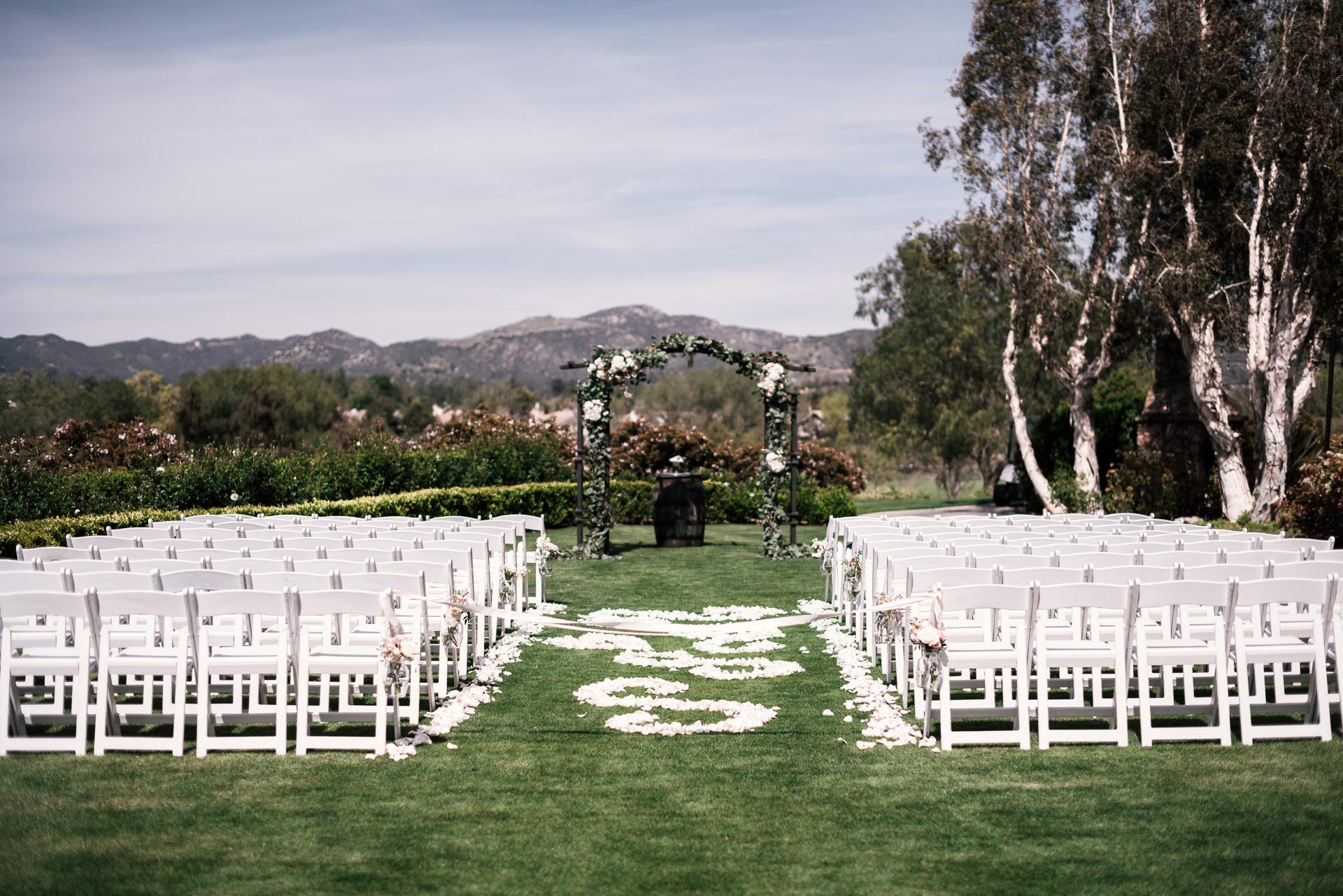 wedding ceremony setup at the Twin Oaks Golf Course in San Marcos, San Diegos premier wedding venue
