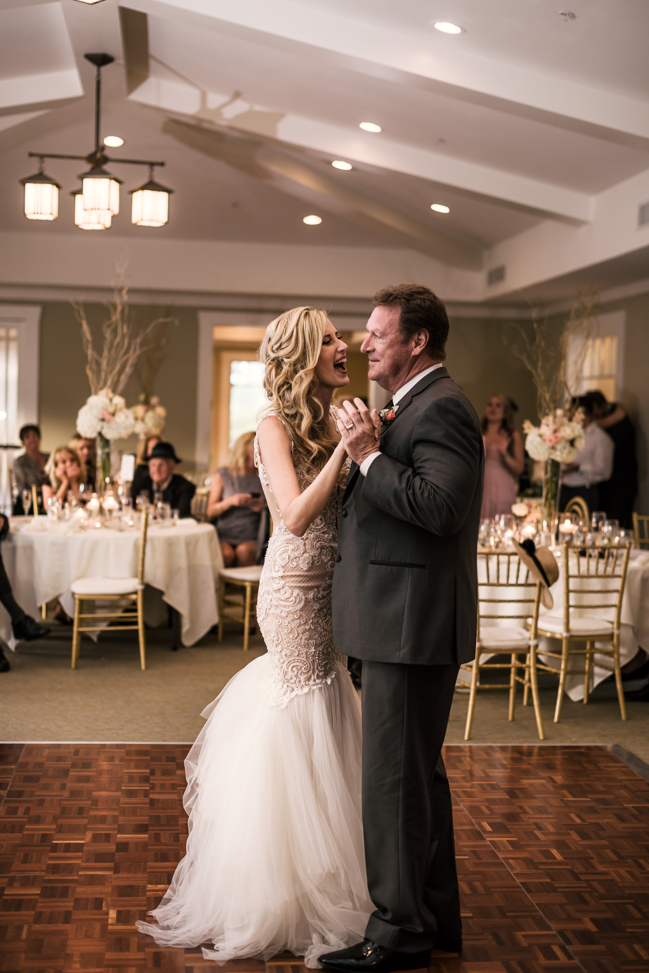 Bride dances with her father at the Twin Oaks Golf Course in San Marcos, San Diegos premier wedding venue
