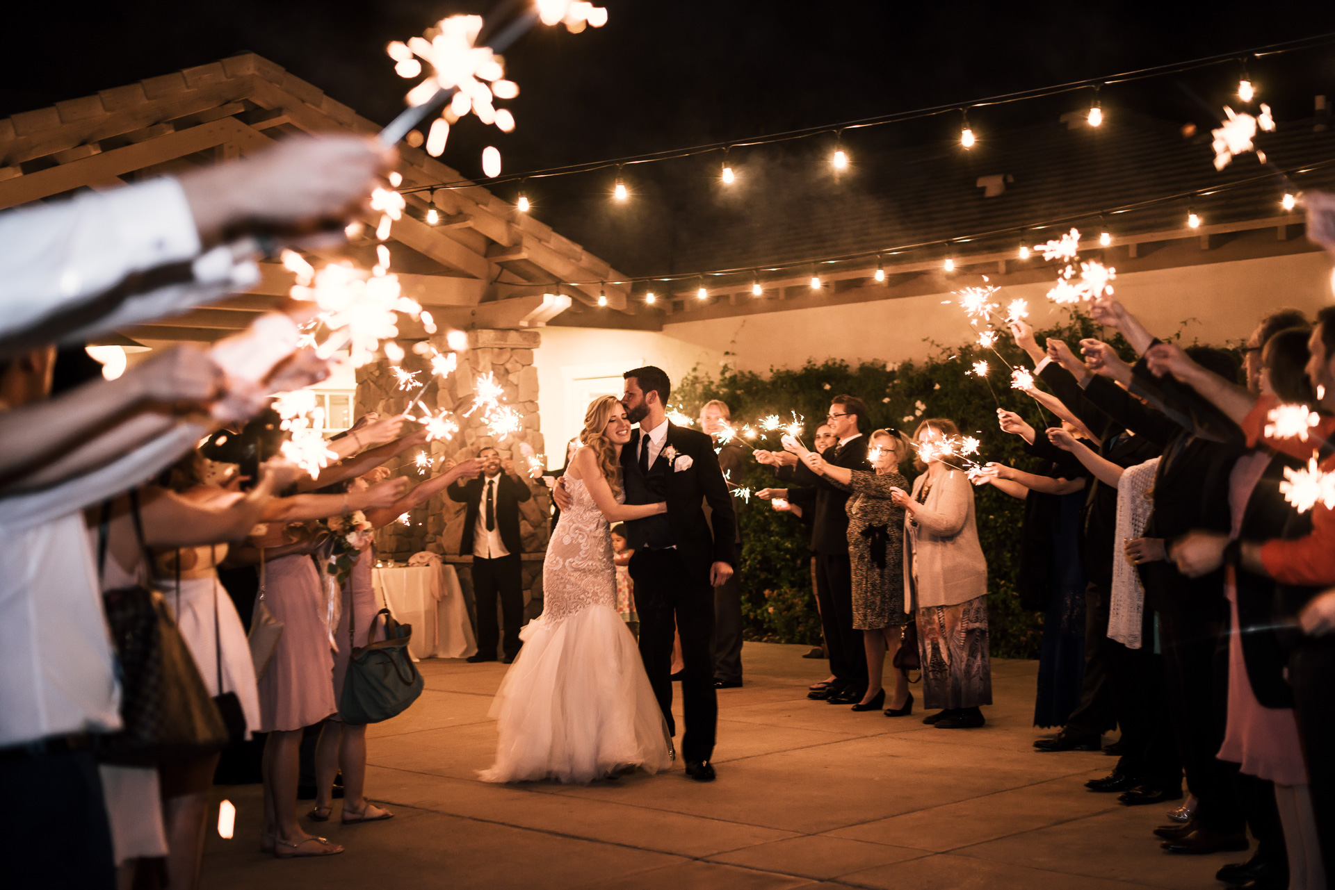 grand exit with sparklers at the Twin Oaks Golf Course in San Marcos, San Diegos premier wedding venue