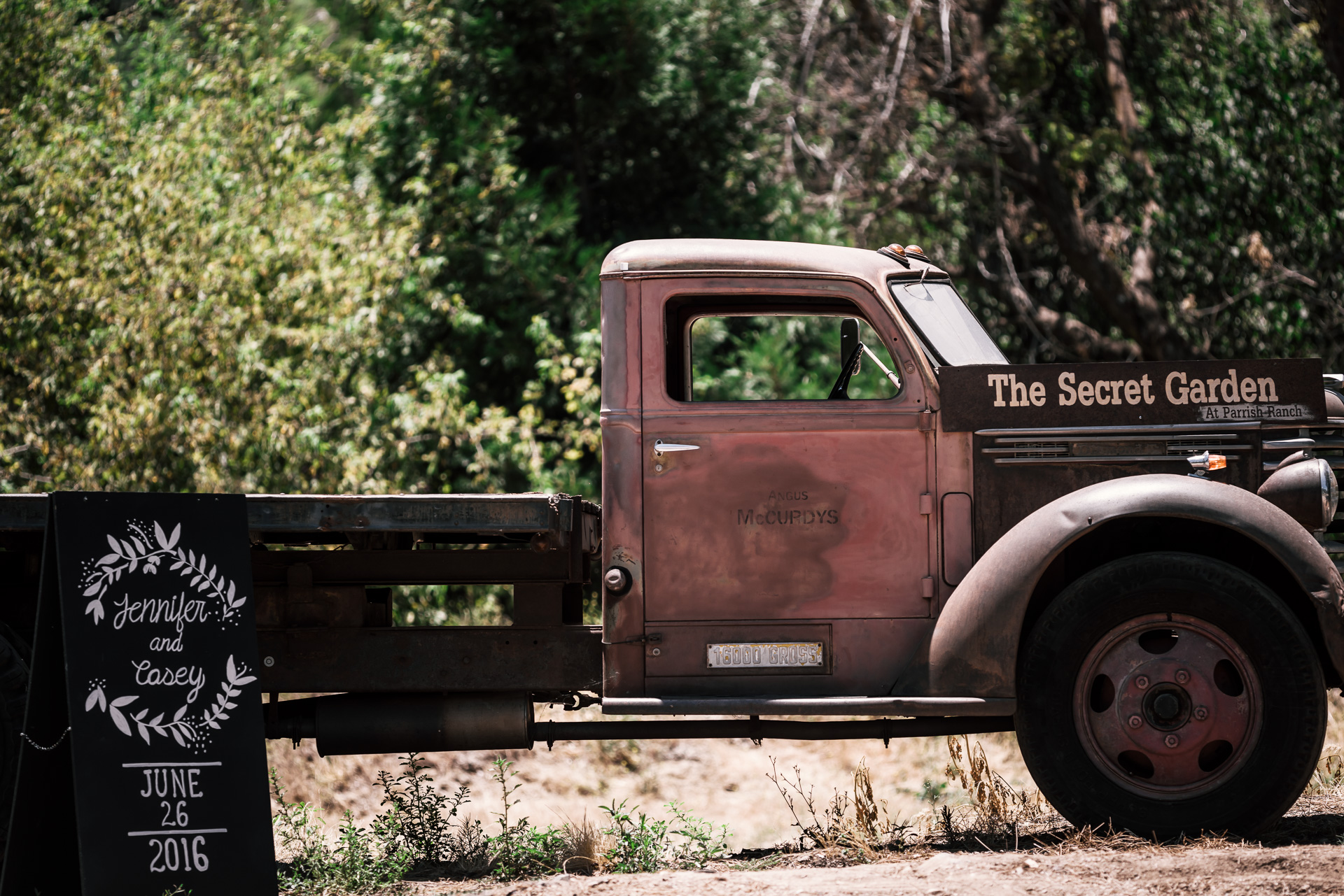 rustic vintage farm truck at the secret garden located at the Historic Parish ranch in Oak Glen California
