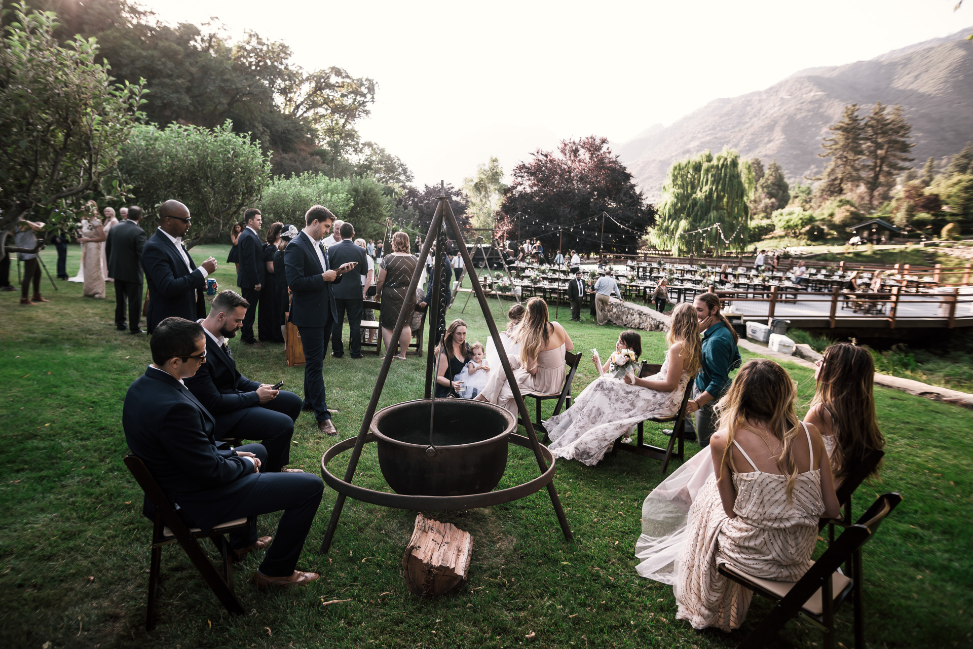 guests enjoy the rustic tranquility at the secret garden located at the Historic Parish ranch in Oak Glen California
