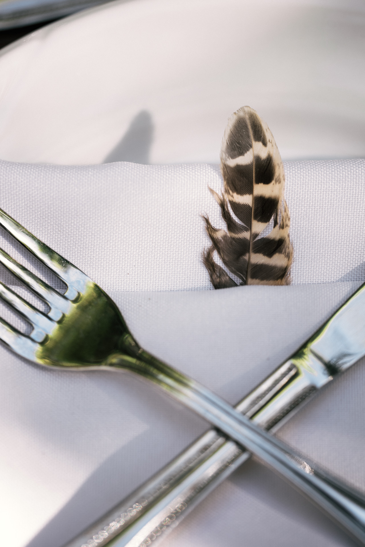 feather place settings shot by wedding photographer at the charming St. George Hotel in Volcano California