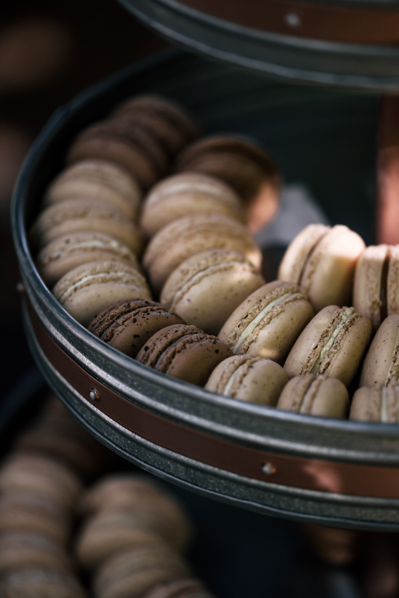 a varriety of macroons shot by wedding photographer at the charming St. George Hotel in Volcano California