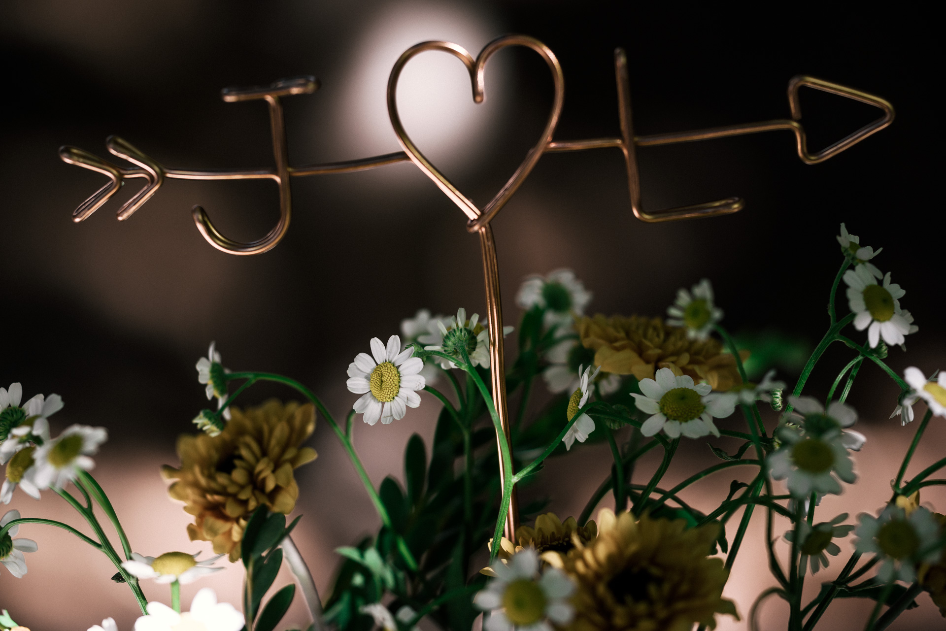 handmade copper cupid heart with bride and grooms initials shot by wedding photographer at the charming St. George Hotel in Volcano California