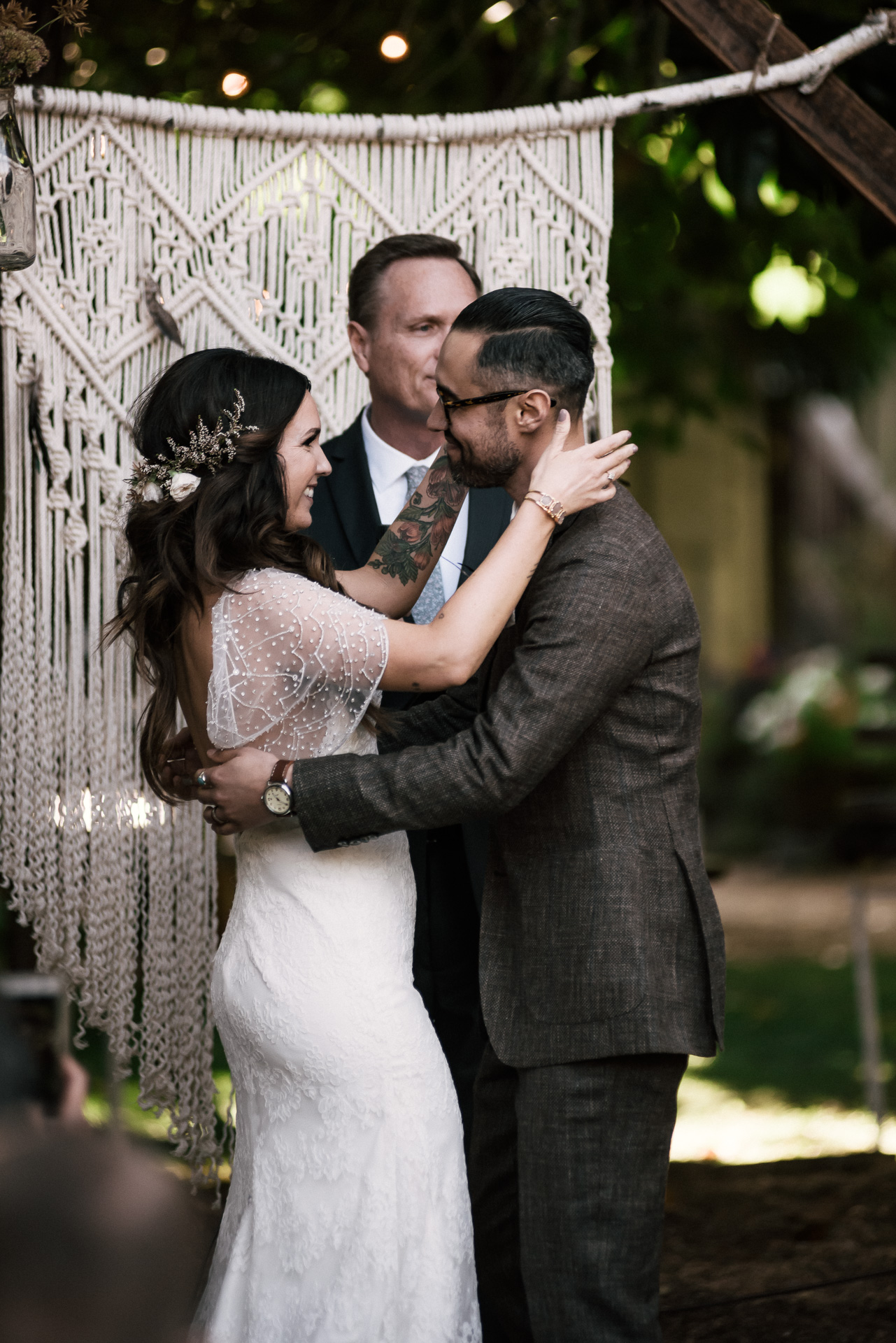 moment just before the first kiss shot by wedding photographer at the charming St. George Hotel in Volcano California