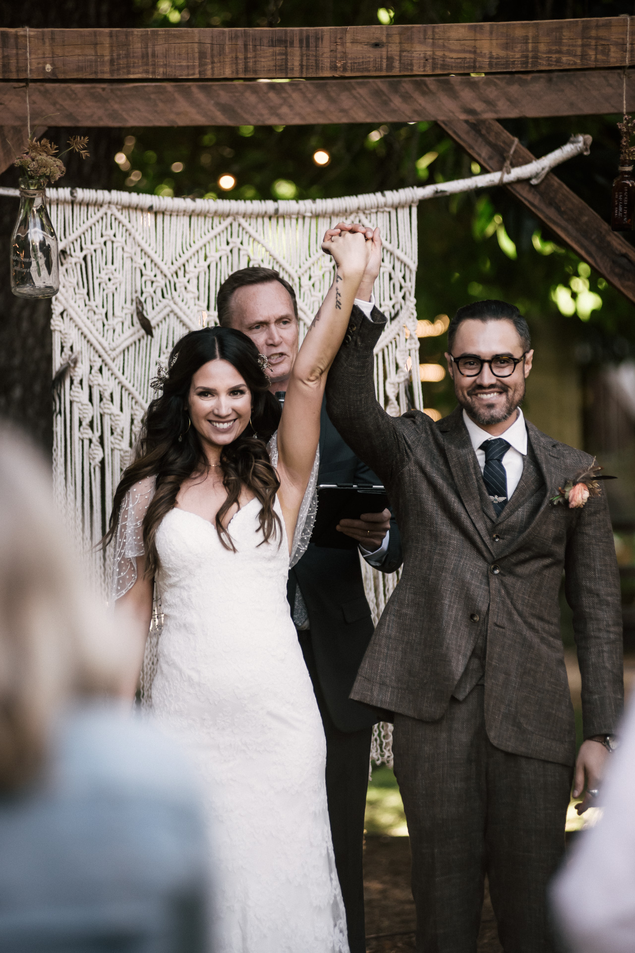 couple celebrates being married shot by wedding photographer at the charming St. George Hotel in Volcano California