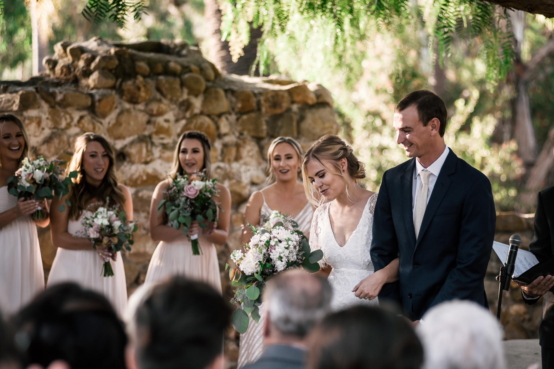for the first time as man and wife captured by photographer during romantic wedding at the historic Leo Carrillo Ranch in Carlsbad California
