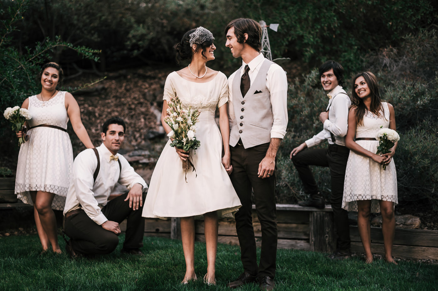 Classy vintage styled wedding party poses after a romantic temecula wine country wedding