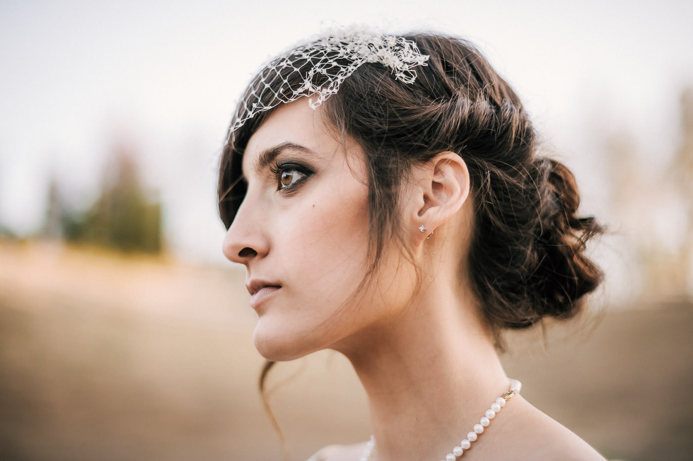 Stunning headshot of a vintage styled bride in temecula california