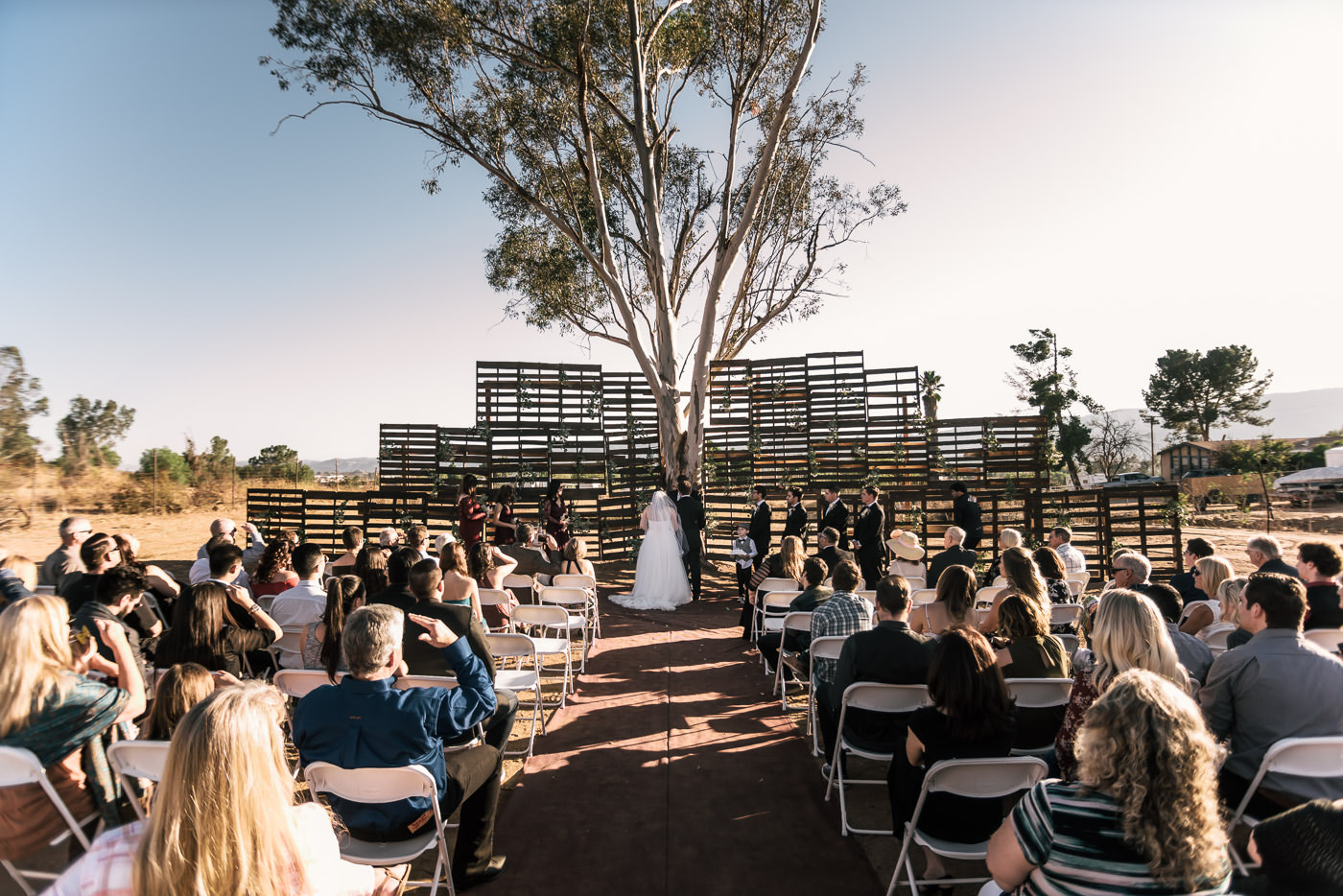 Backyard country wedding with homemade pallet wall in Temecula California.