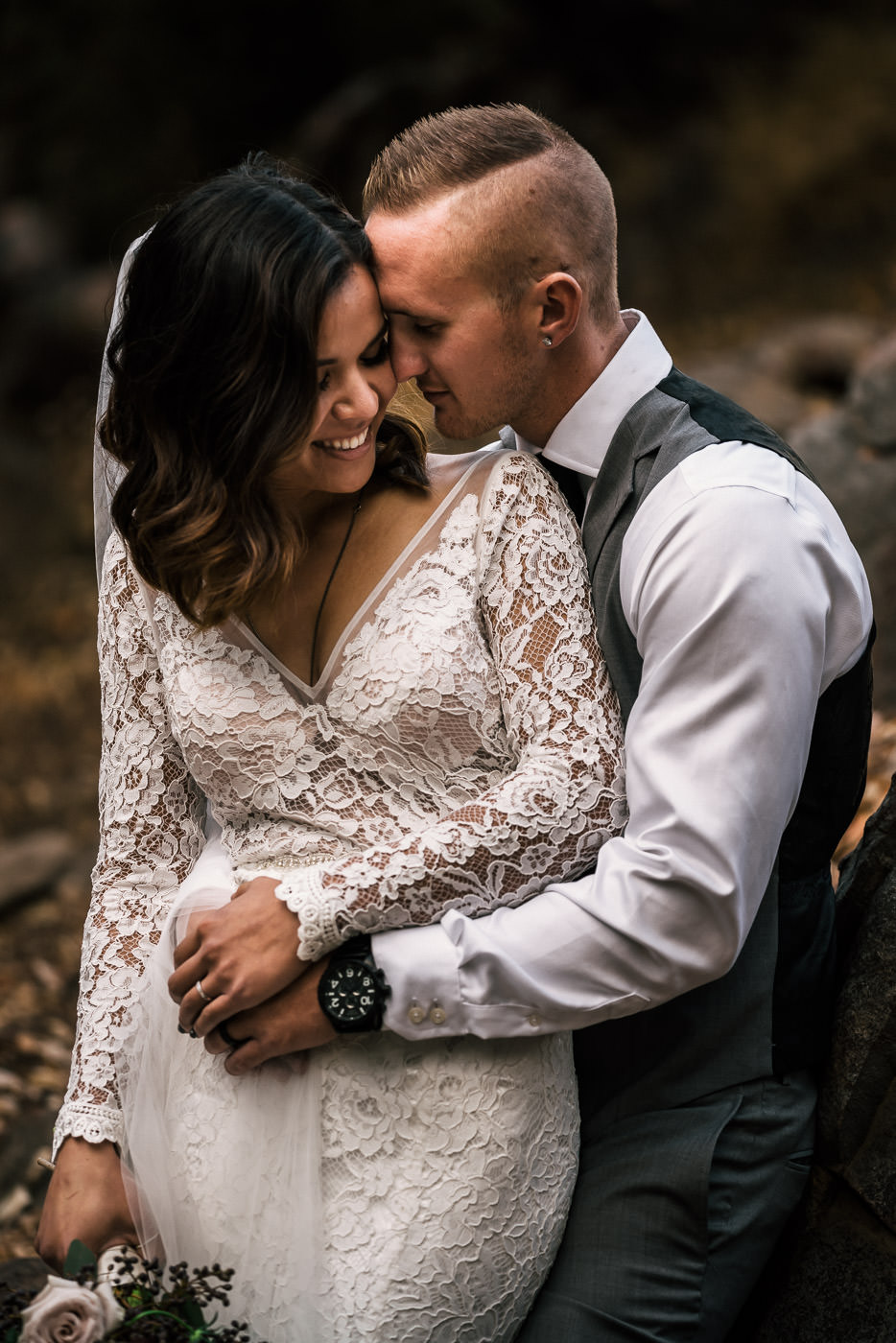 Bride and groom intimate portrait after beautiful elopement in winchester california