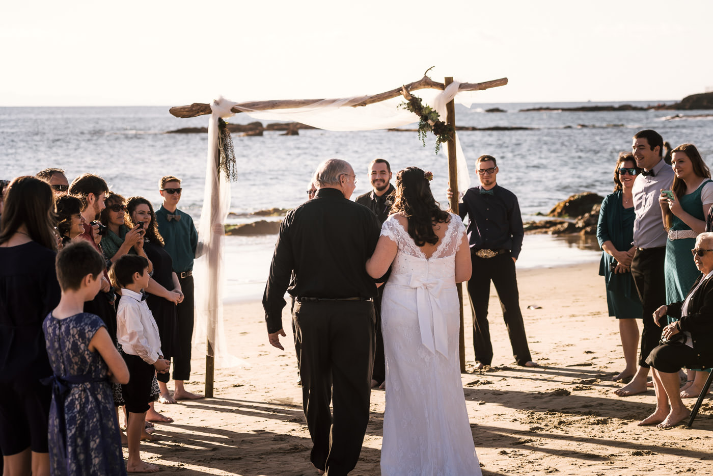 Couple prepares to tie the knot at their Laguna Beach wedding in California.