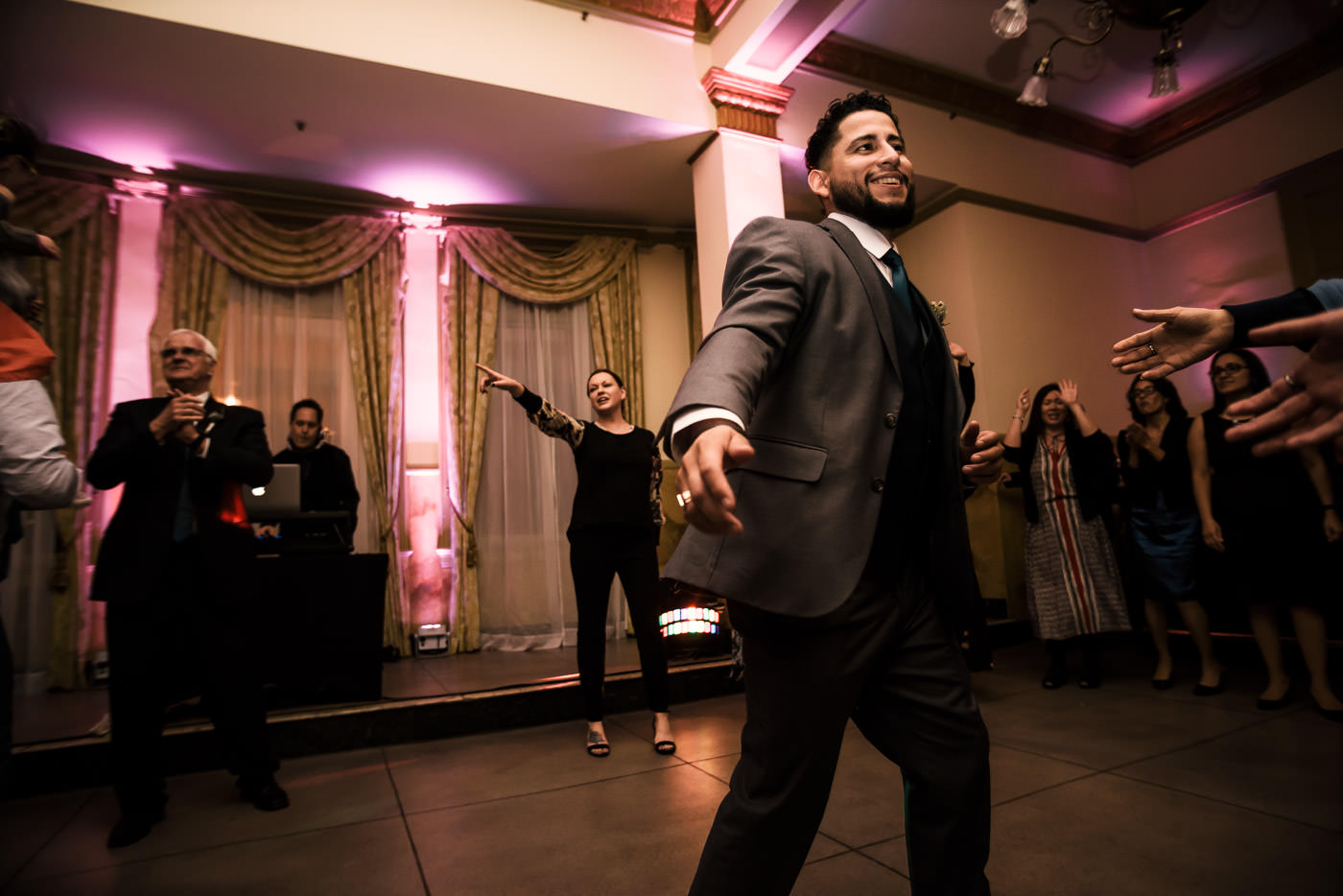 Best man tears it up on the dance floor at Castle Green wedding reception.