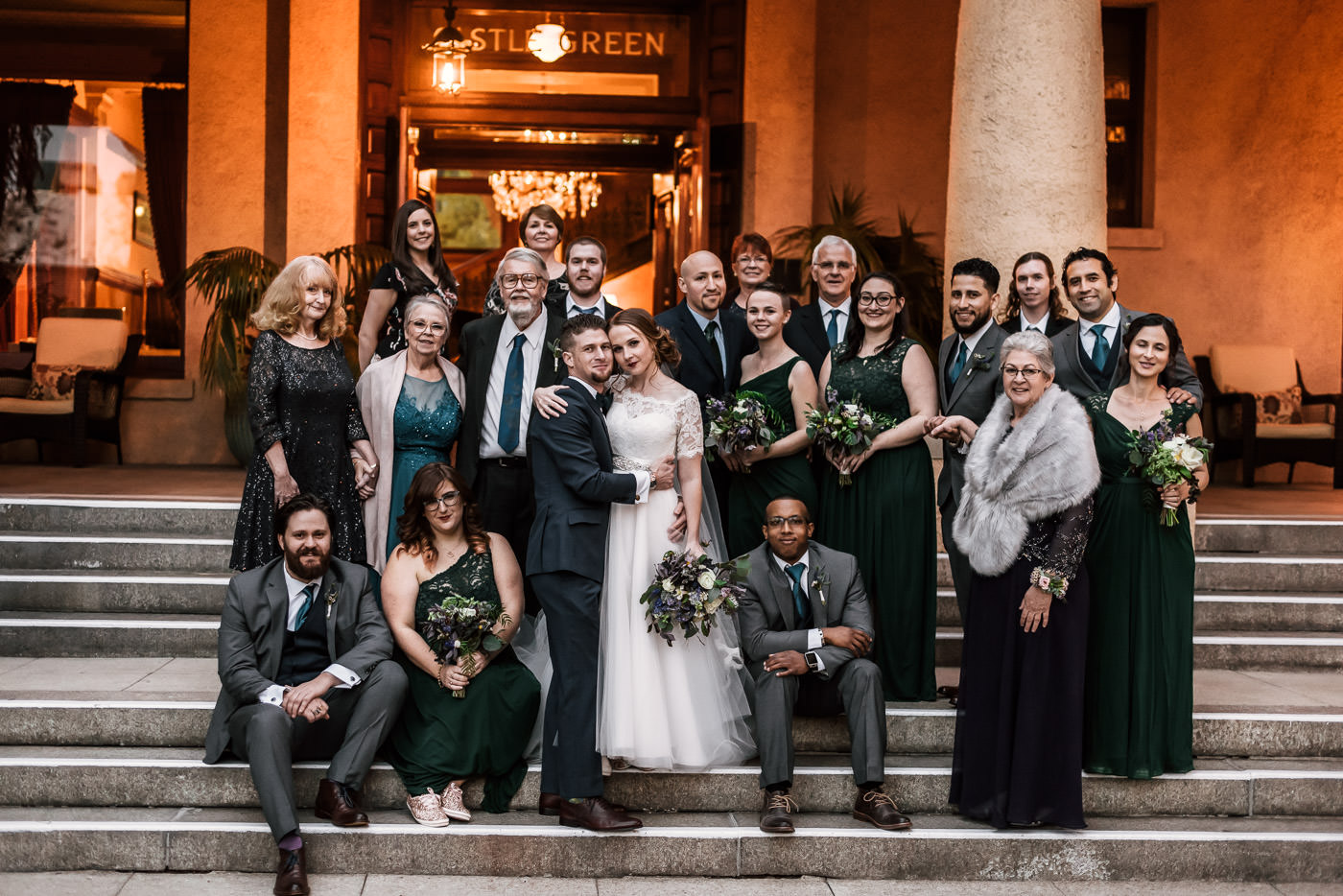 Group photo of all the bride and grooms closest friends and family.