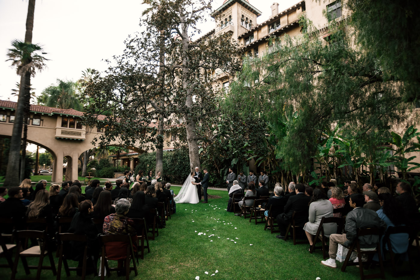 Wedding in Pasadena with the Castle Green in the background.