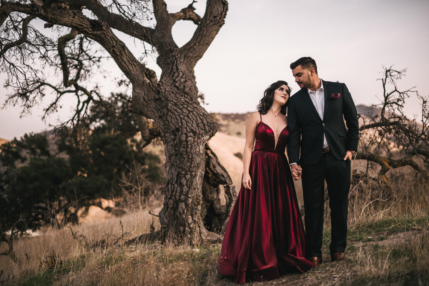 Bride looks at her future husband with love in her eyes in front of a dead tree in Malibu.