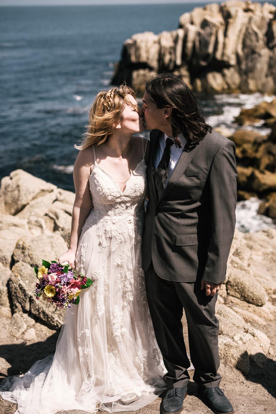 Romantic wedding photos on the Pacific coast.