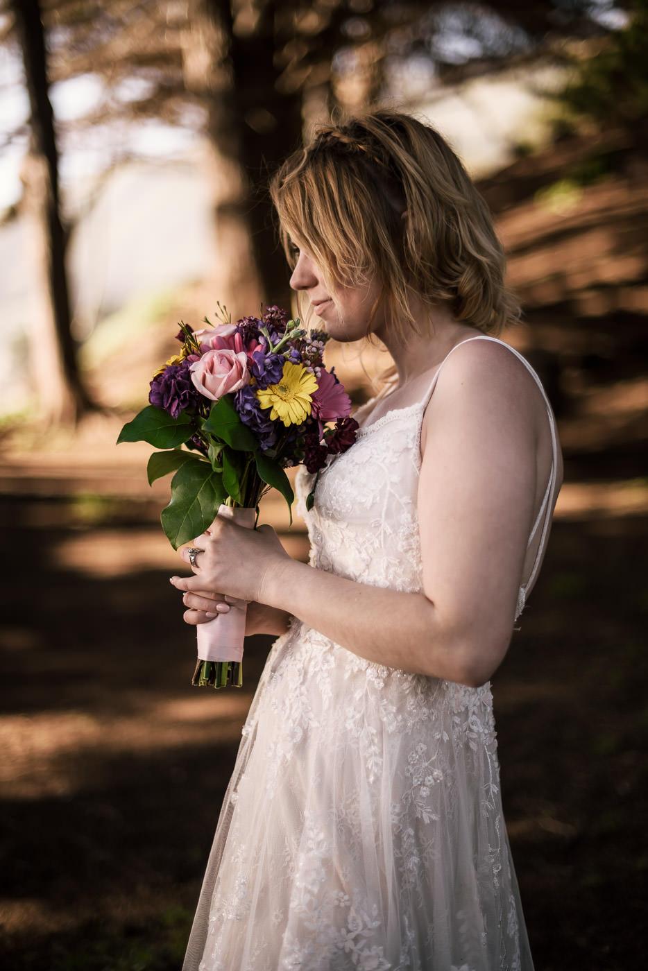 Stunning portrait of a bride at her elopement in Big Sur.