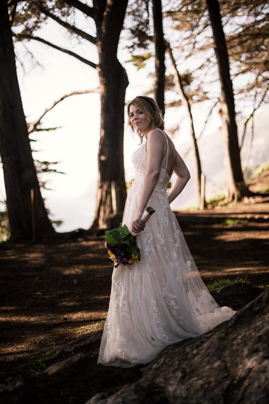 National Park elopement photographer creats a stunning portrait of a bride.