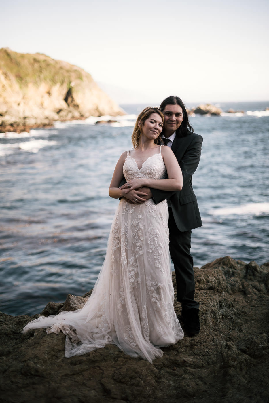 Beautiful Portrait of a married couple on the coast of California.