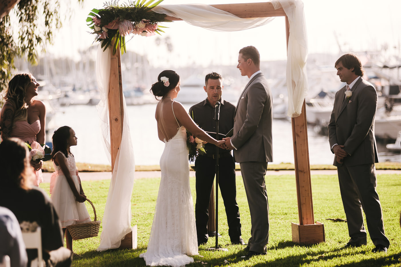 Gorgeous sunset marriage ceremony at the Marina Village in San Diego California.