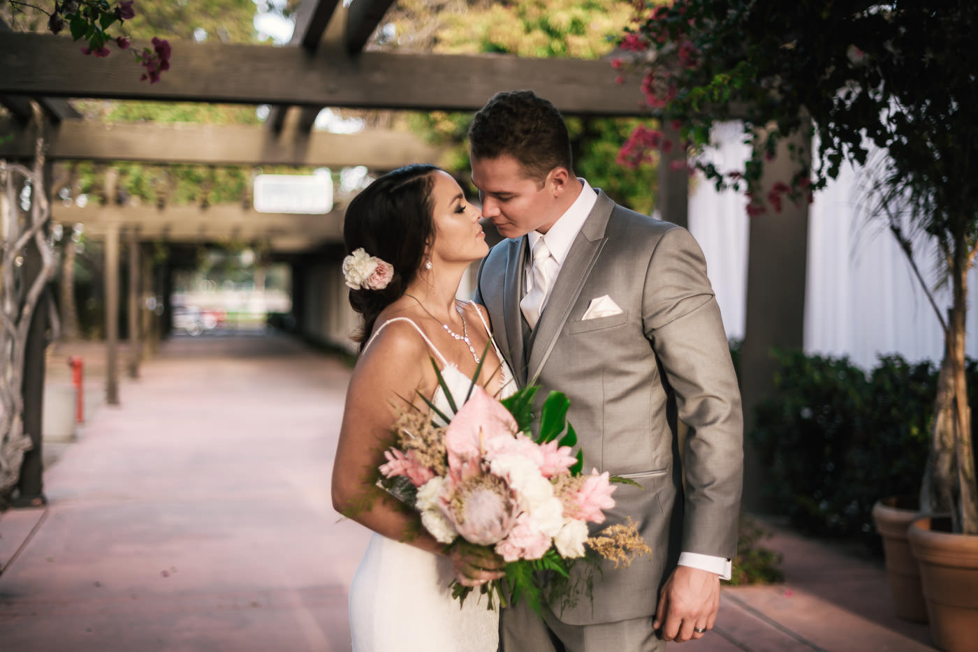 Romantic wedding photography at Marina Village in San Diego.