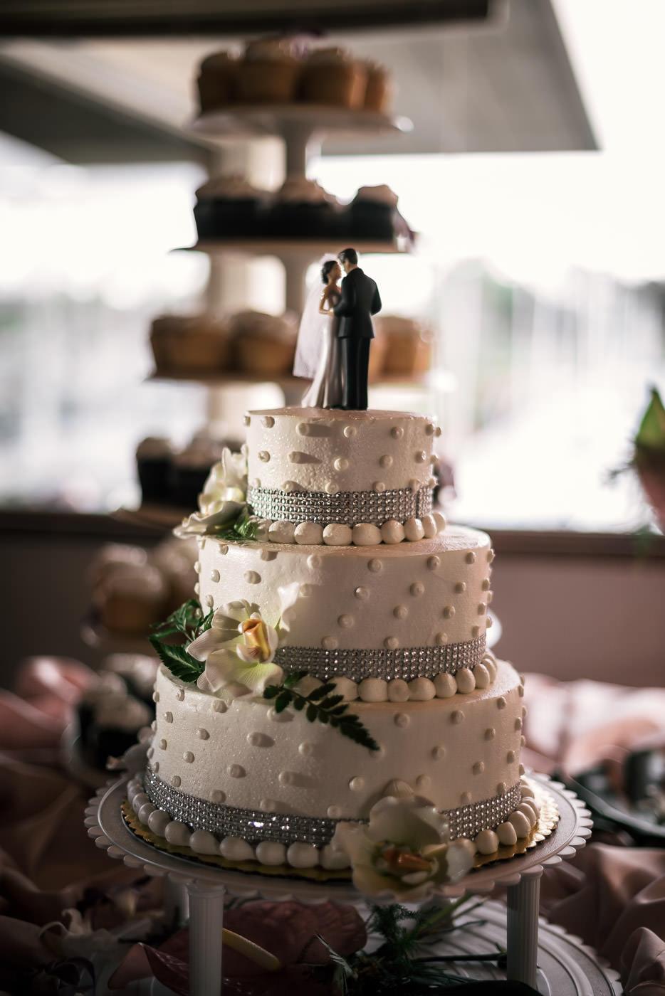 Three tierd wedding cake with rhinestone, flower, and fern detials.