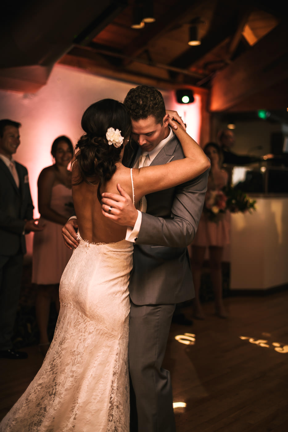 Romantic first dance at a lovely wedding reception at Marina Village.