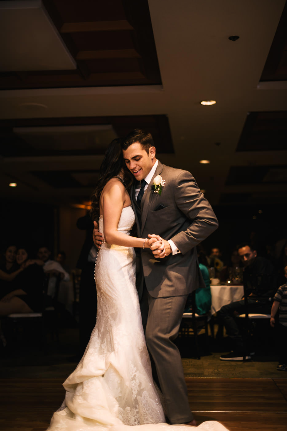 Couple has a little fun during their first dance.