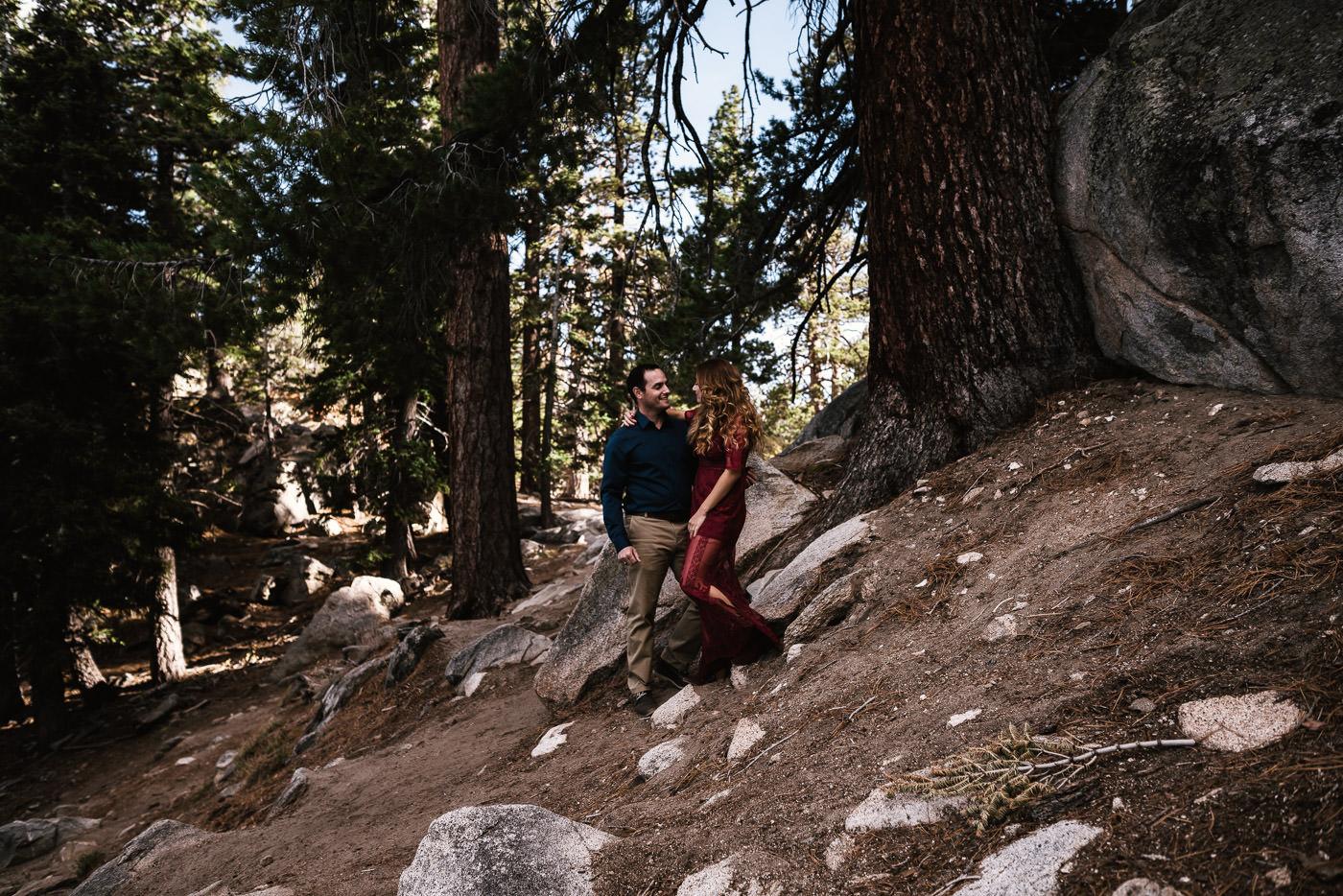 Couple gets close for a romantic engagement session on Mt. San Jacinto.