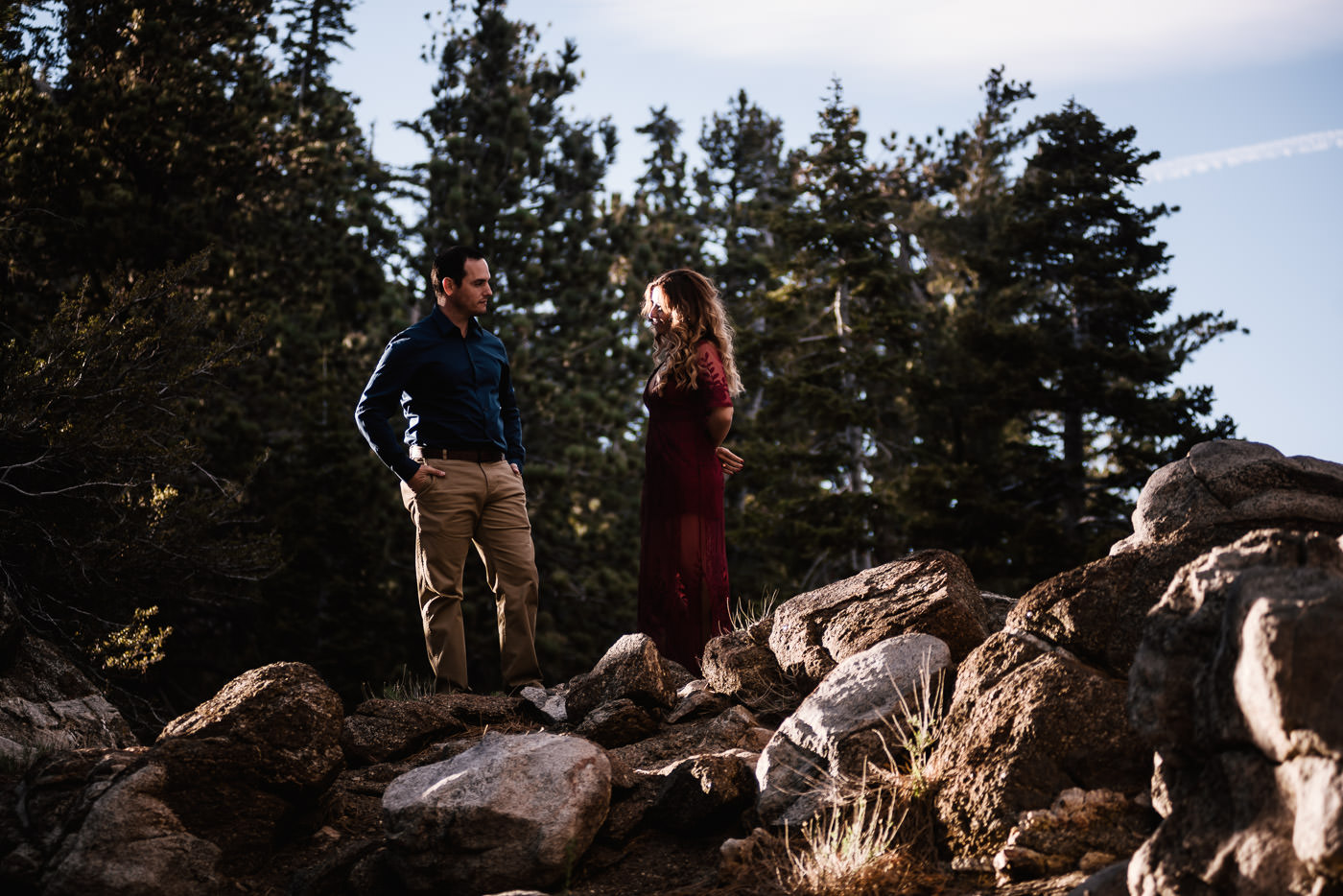 Couple looks each other over on the granite boulders of Mt. San Jacinto.