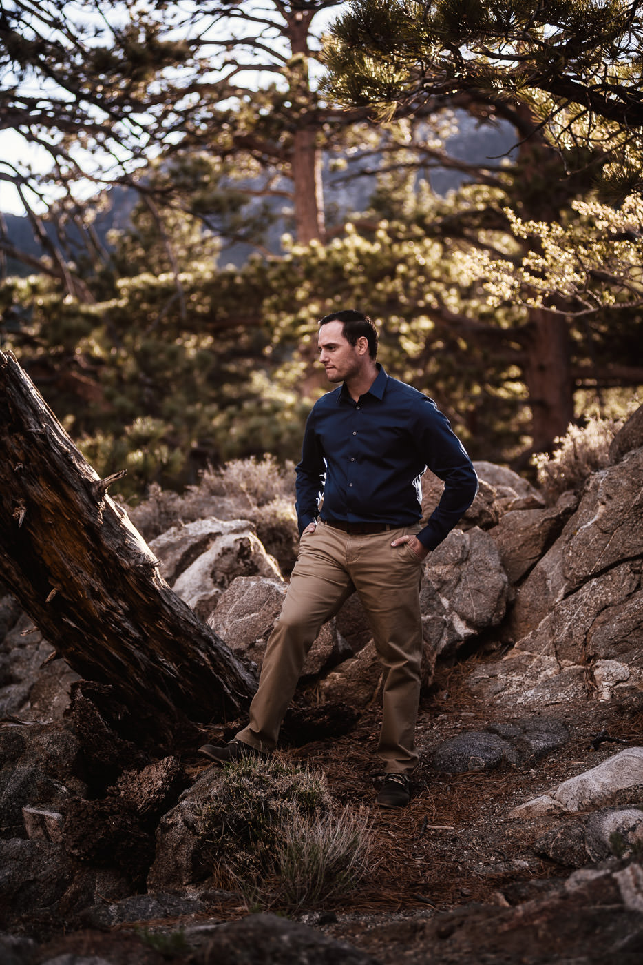 Groom poses in the woods of Mt. San Jacinto.