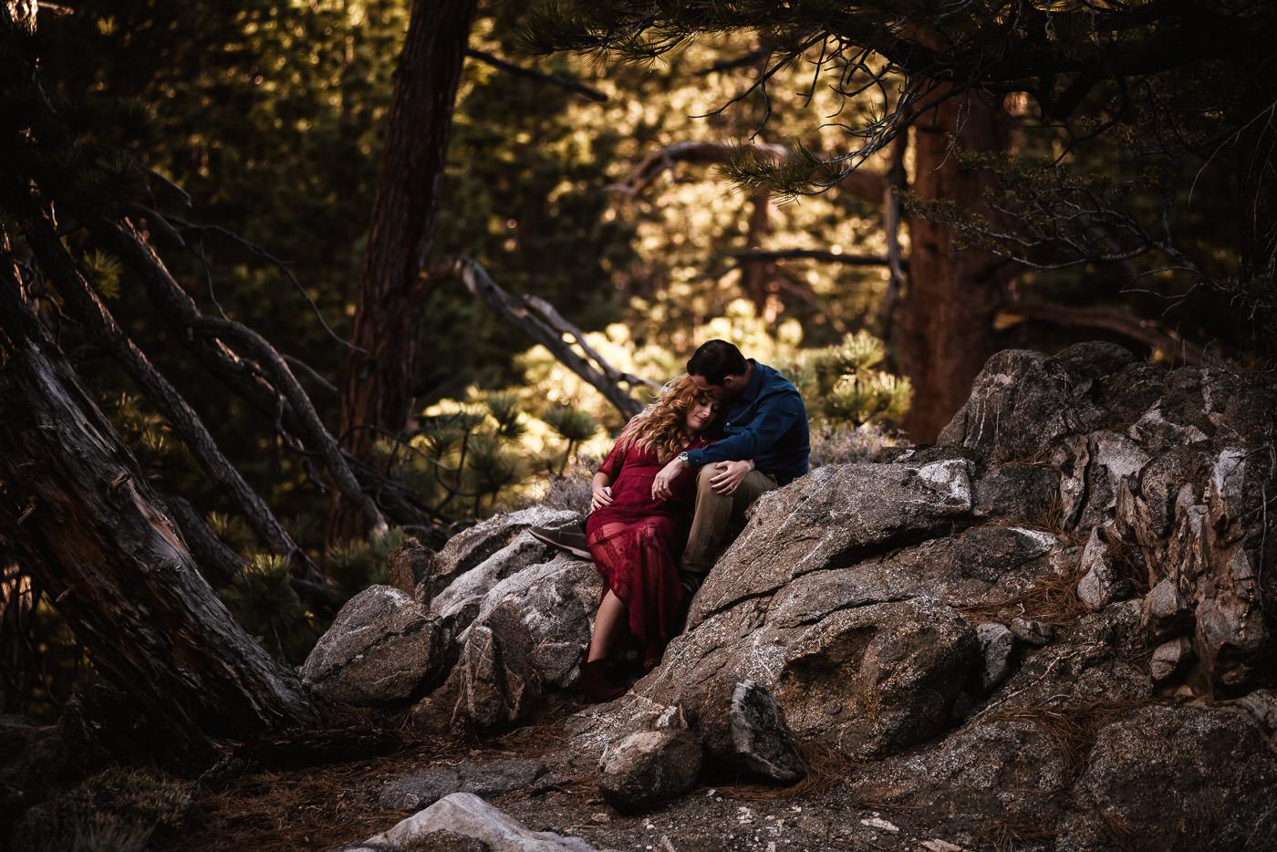 Engagement photographer captures romantic moment between bride and groom.