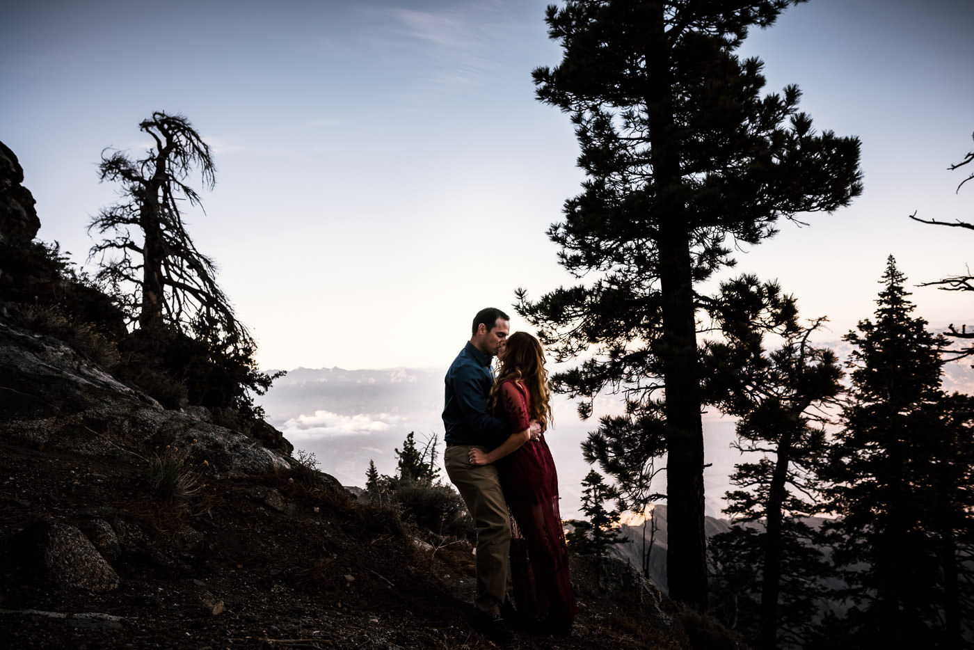 Kissing on the side of a mountain near Palm Springs.