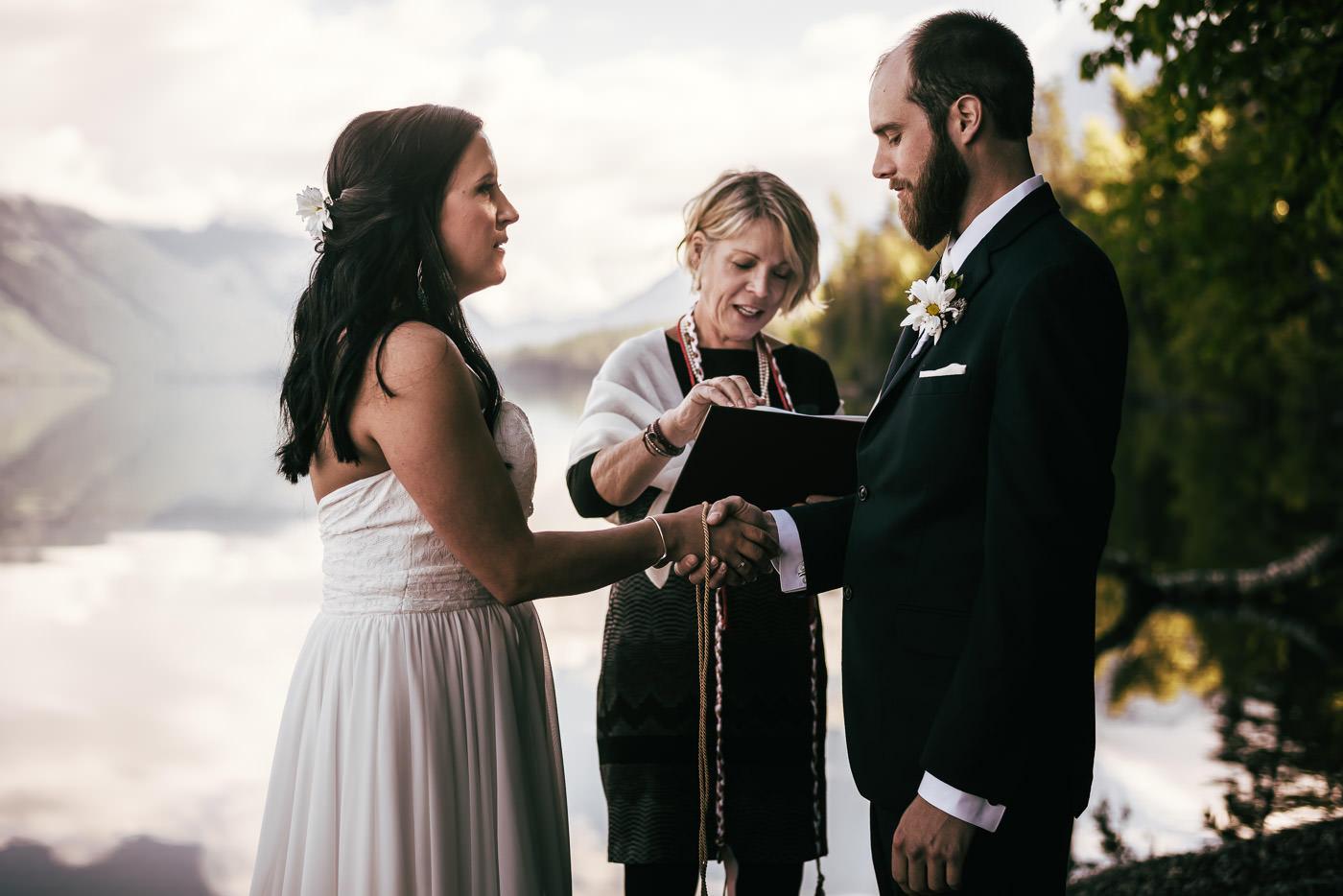 Knot tying ceremony besides Lake Mcdonald.
