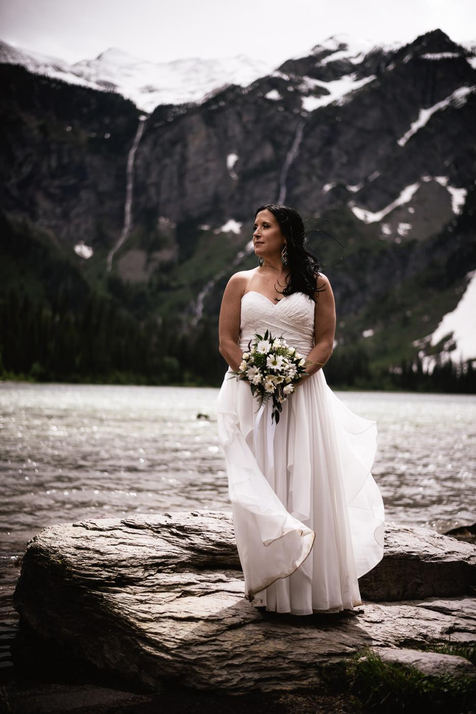 Beautiful Bridal portrait at Avalanche Lake.