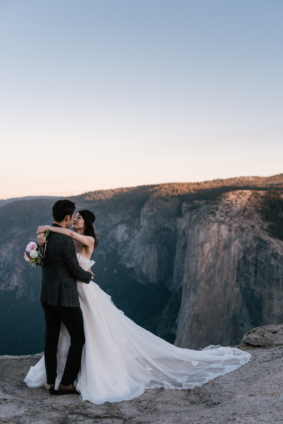 Taft Point sunrise elopement session.