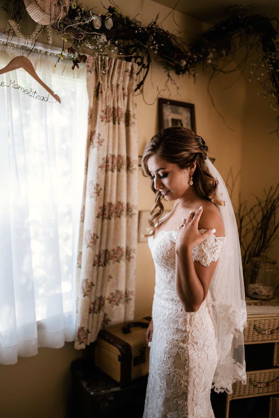Beautiful bride getting ready at The Homestead at Wilshire Ranch.