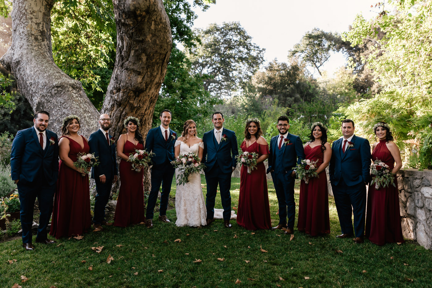 This good looking wedding party poses for a classic photo at The Homestead.