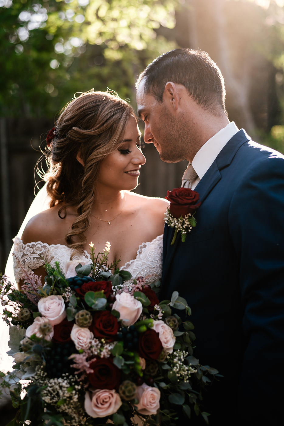 Beautiful portrait of a newly married couple at The Homestead at Wilshire Ranch.
